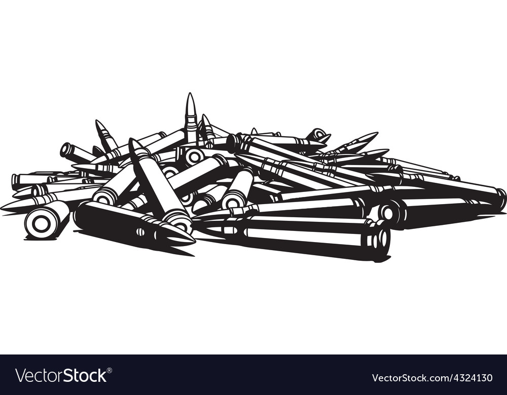 Rifle bullets over white background vector