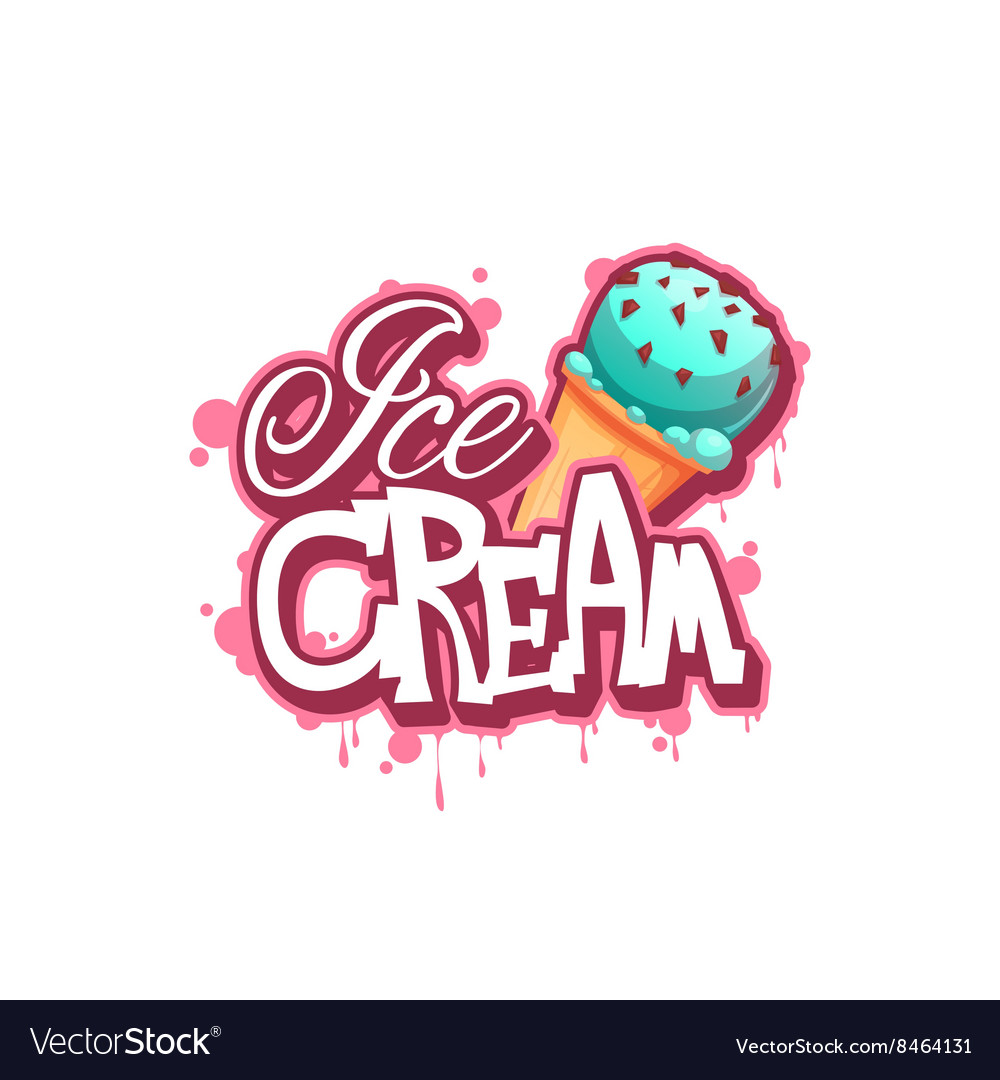 Ice cream banner with pink drops vector