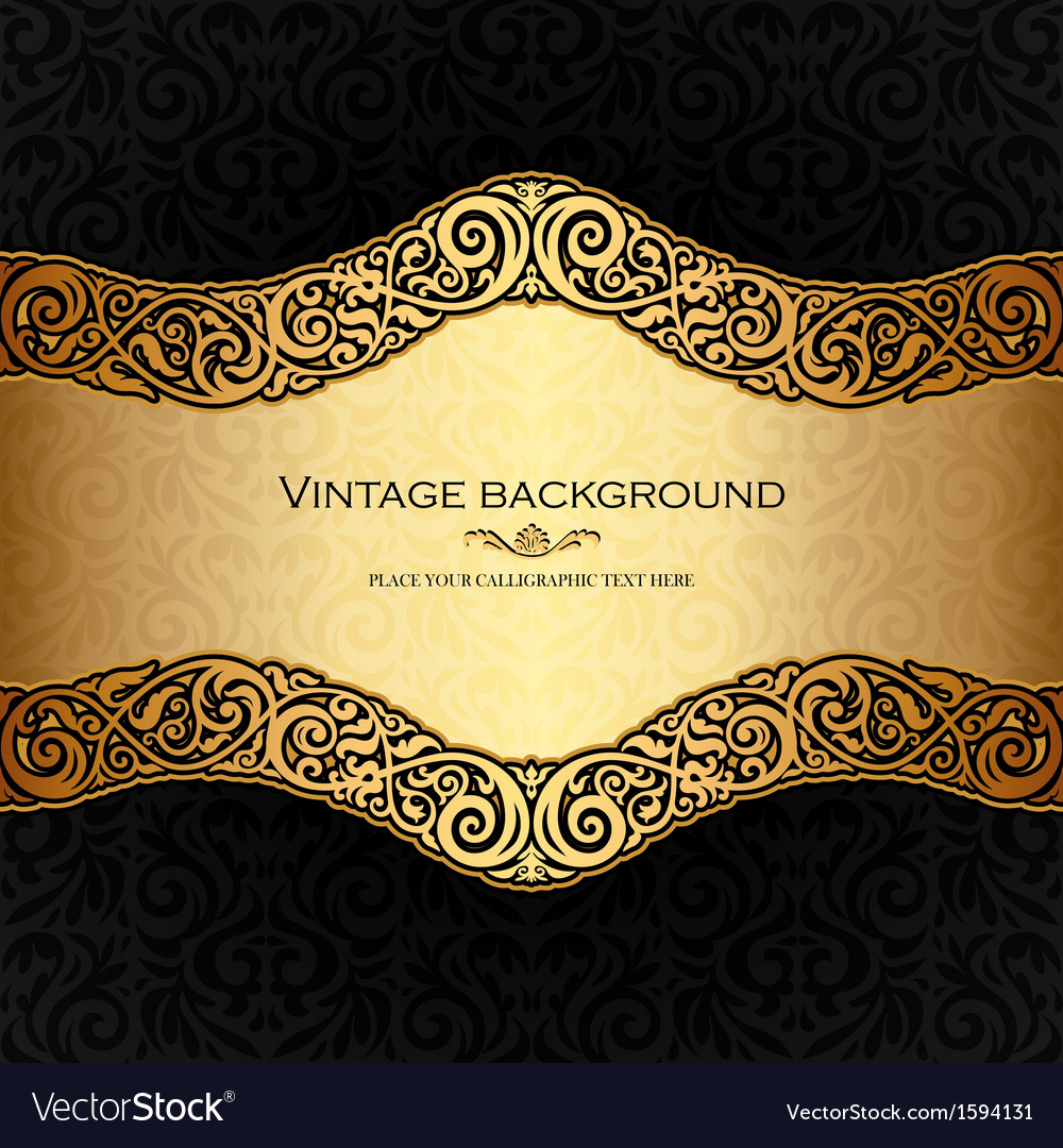 Vintage background black and gold vector