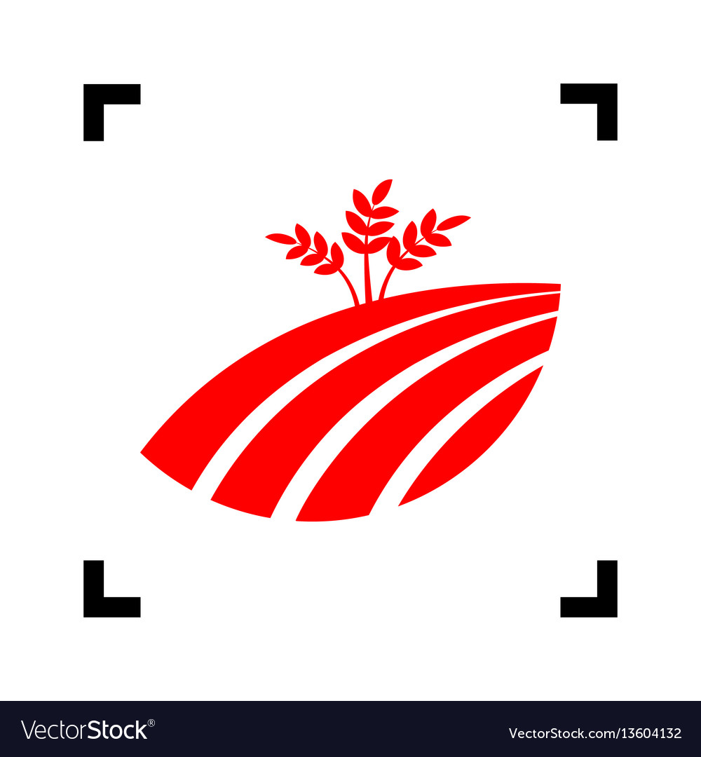 Wheat field sign red icon inside black vector