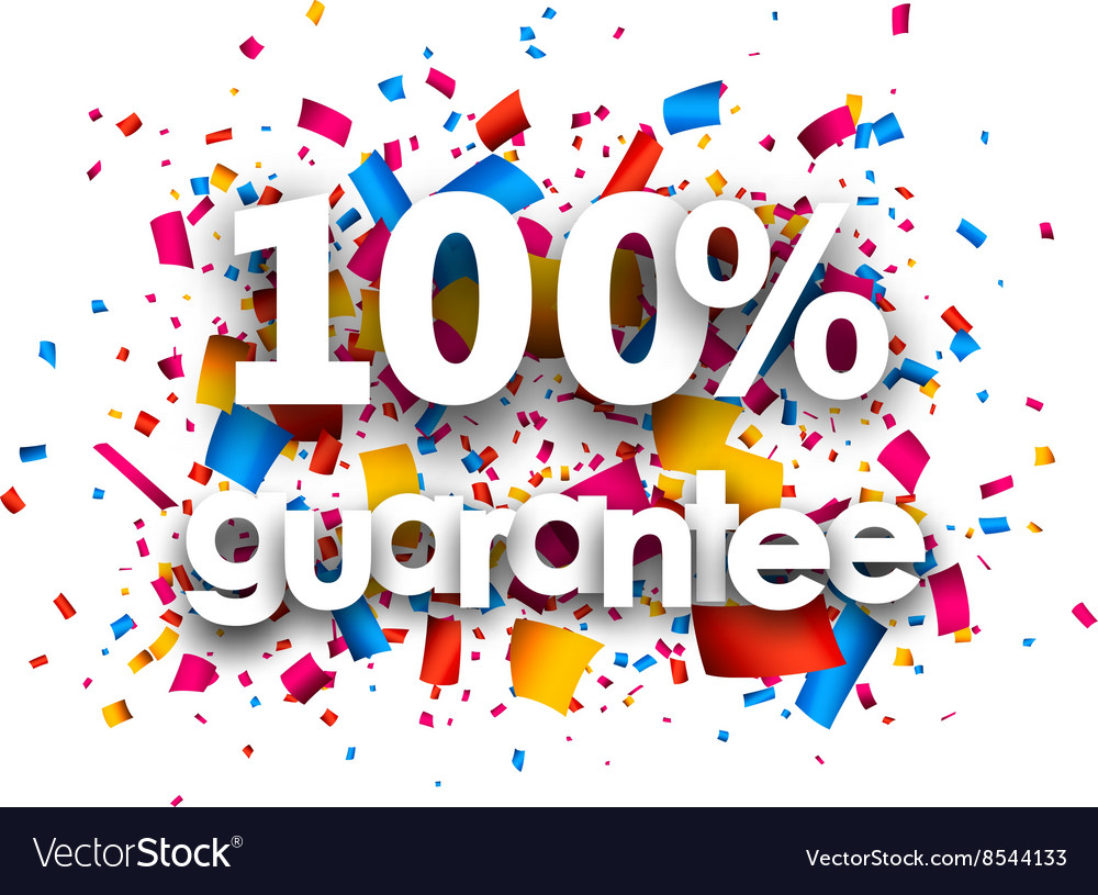 100 guarantee paper card vector