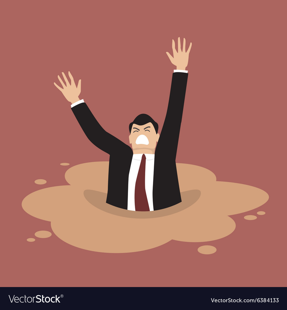 Businessman sinking in a puddle of quicksand vector
