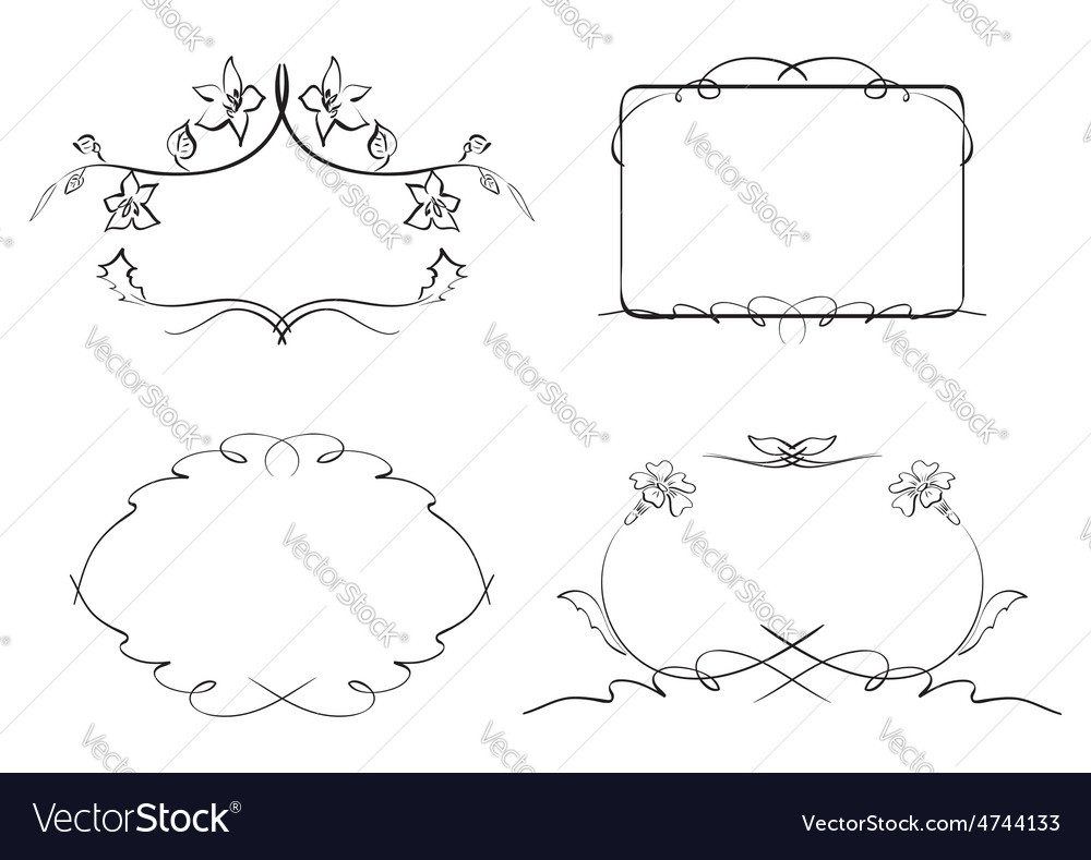 Floral decorative frames  set vector