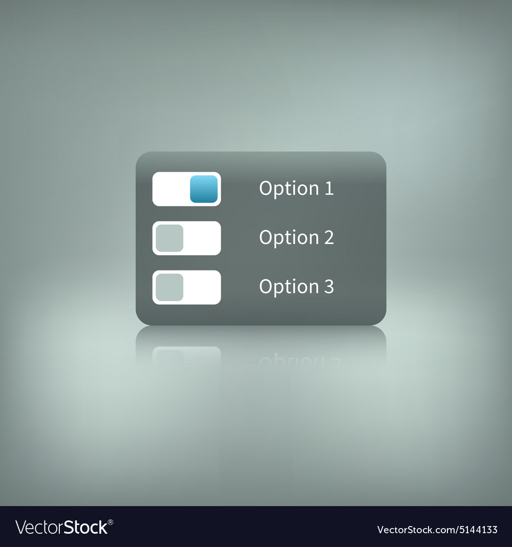 Option switcher on background vector