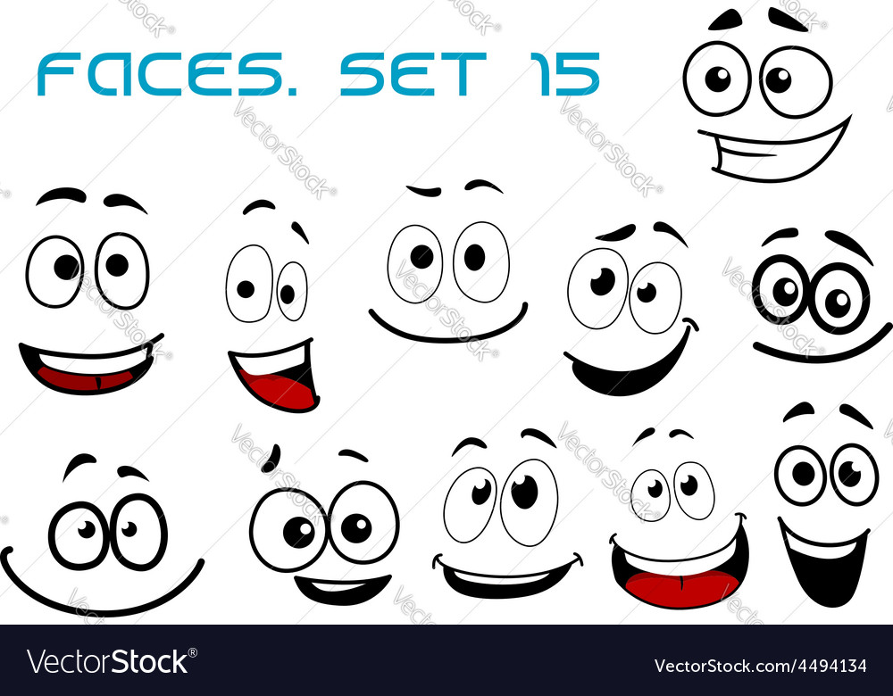 Cartoon laughing faces with googly eyes vector