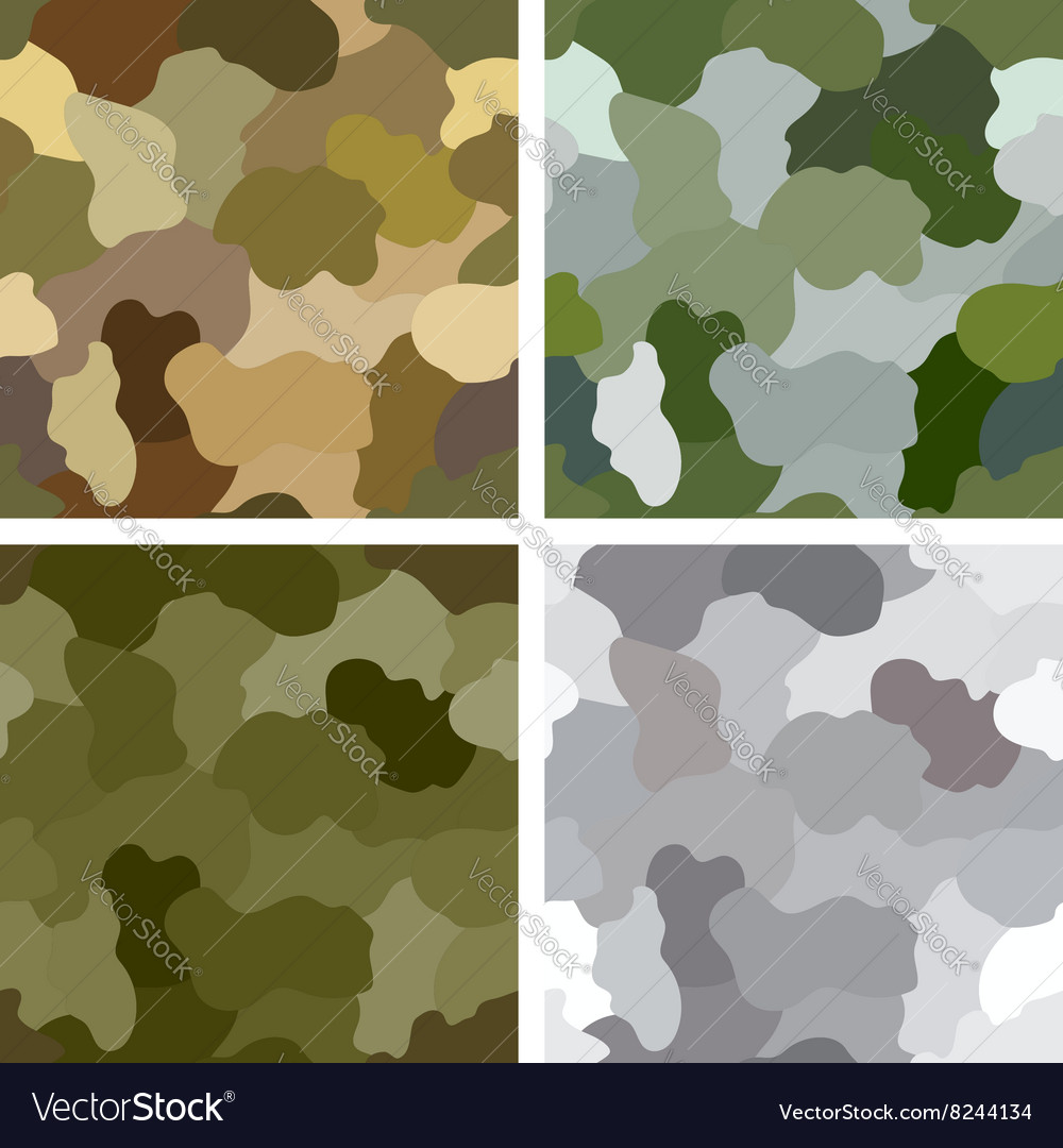 Set of original camouflage patterns vector