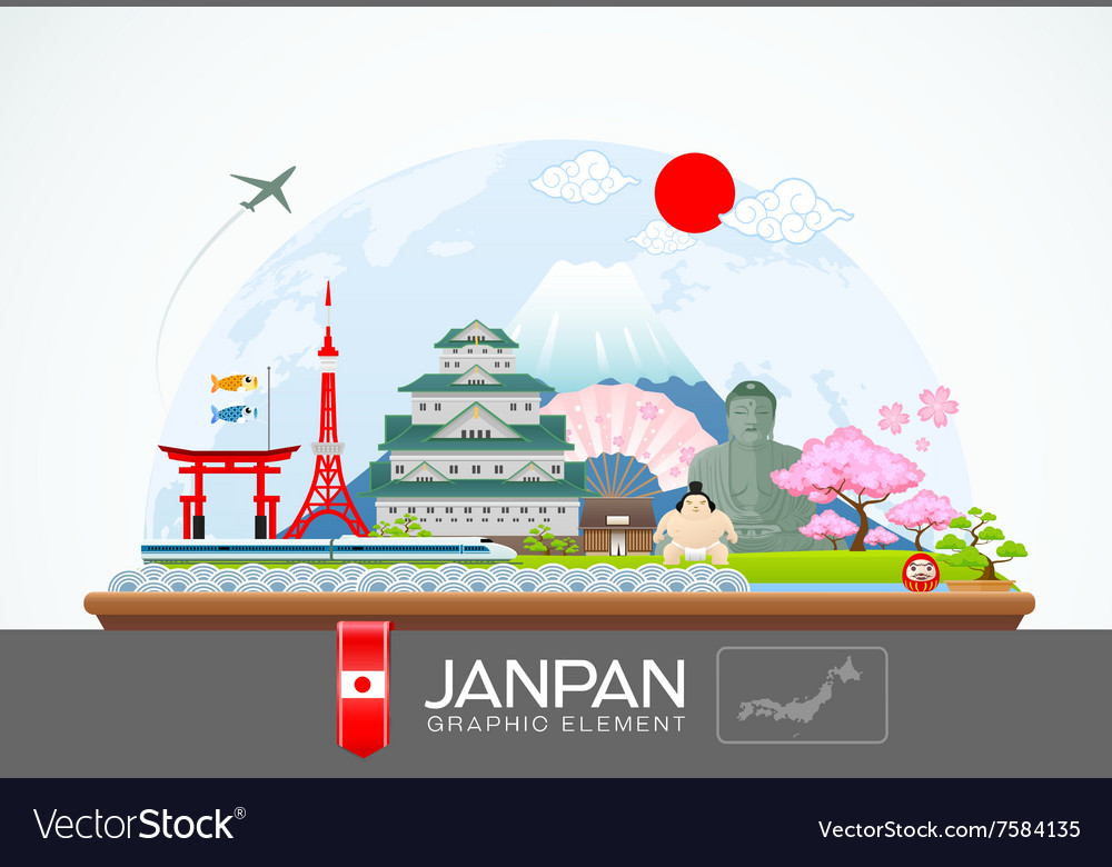 Janpan infographic travel place and landmark vector