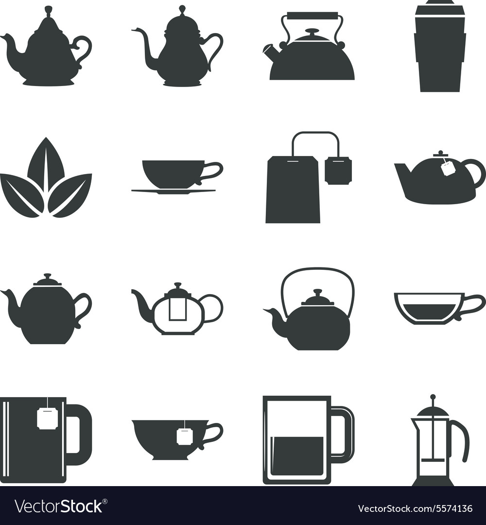 Tea icons set on white background vector