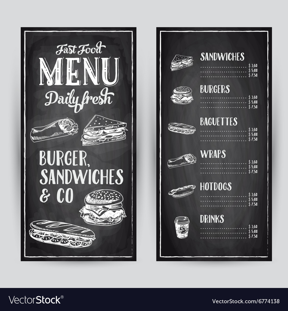 Hand drawn with fast food vector