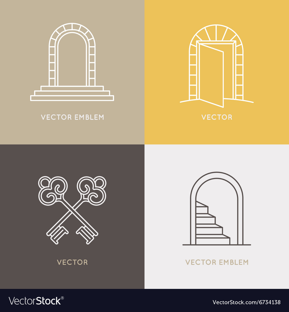 Set of logo design templates and emblems in trendy vector