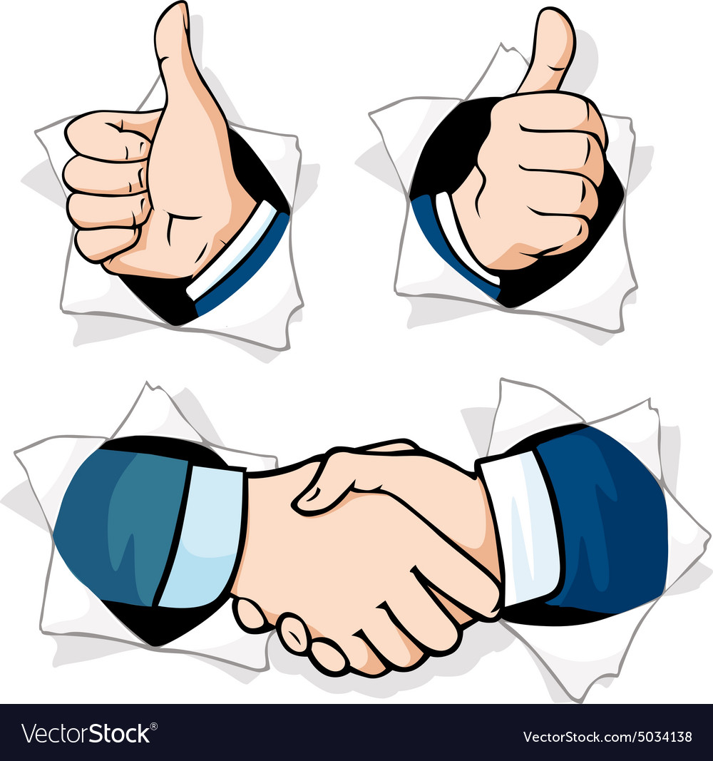Thumb up  hands gesturing peering out of a hole vector