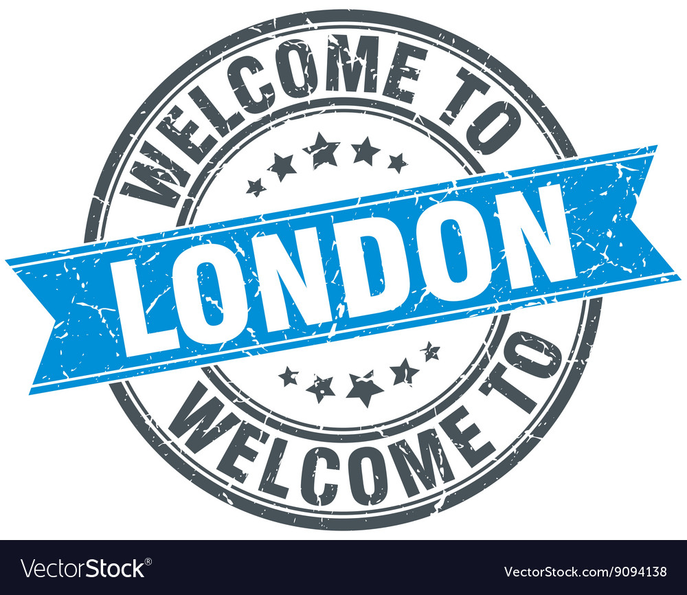 Welcome to london blue round vintage stamp vector