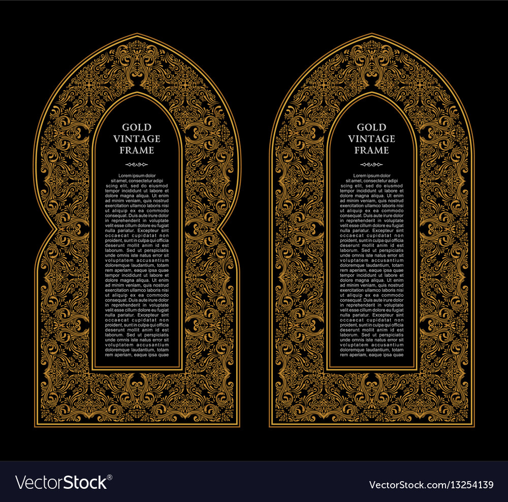 Eastern gold frames arch template design vector