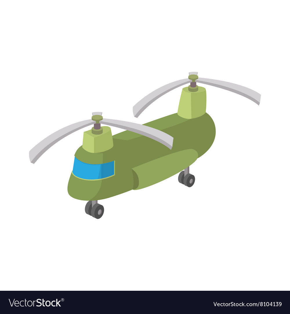 Military cargo helicopter icon cartoon style vector