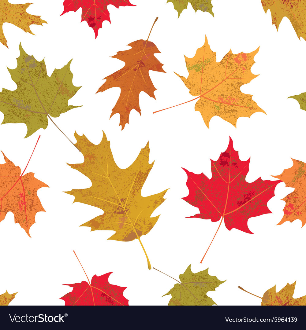 Seamless tiled colorful autumn leaves vector