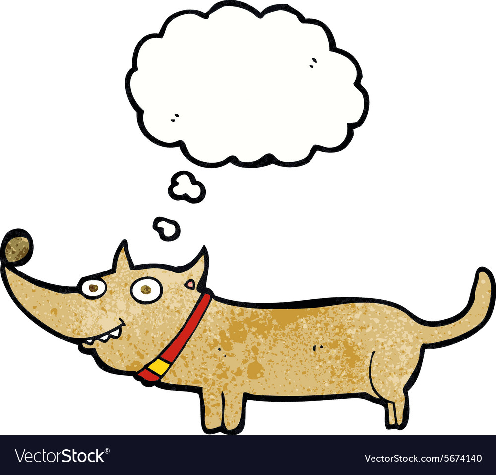 Cartoon happy dog with thought bubble vector