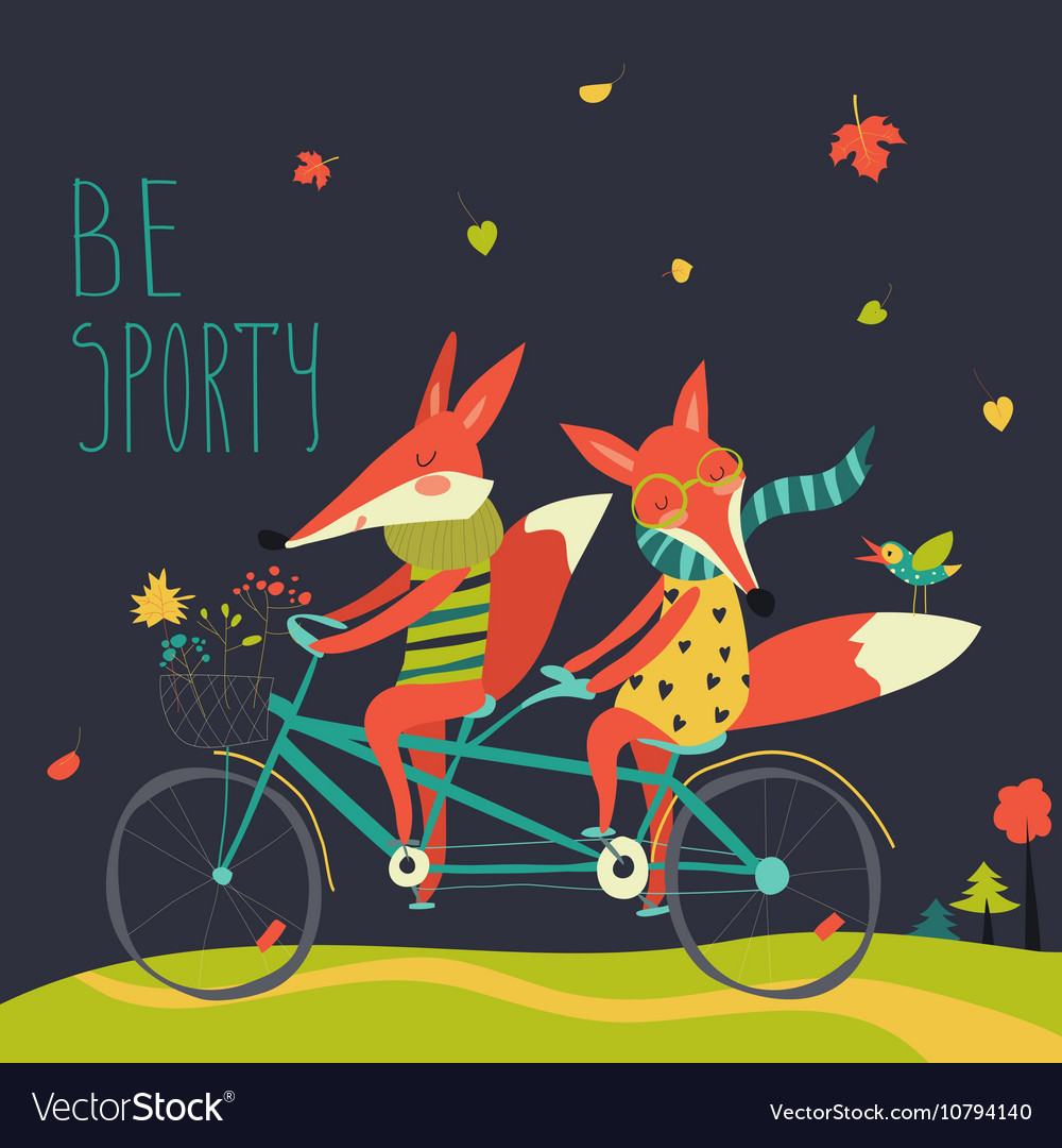 Cute couple foxes ride tandem bicycle vector