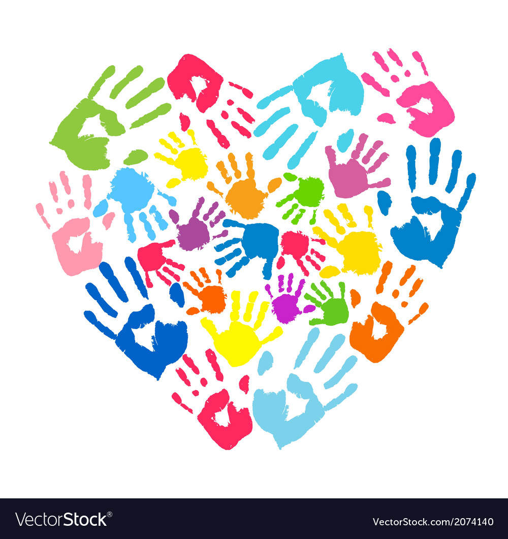 Heart of the handprints of parents and kids vector