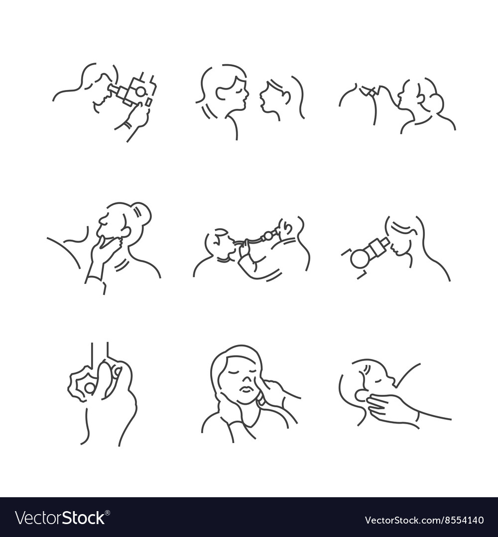 Set of line icons medical doctors otolaryngology vector