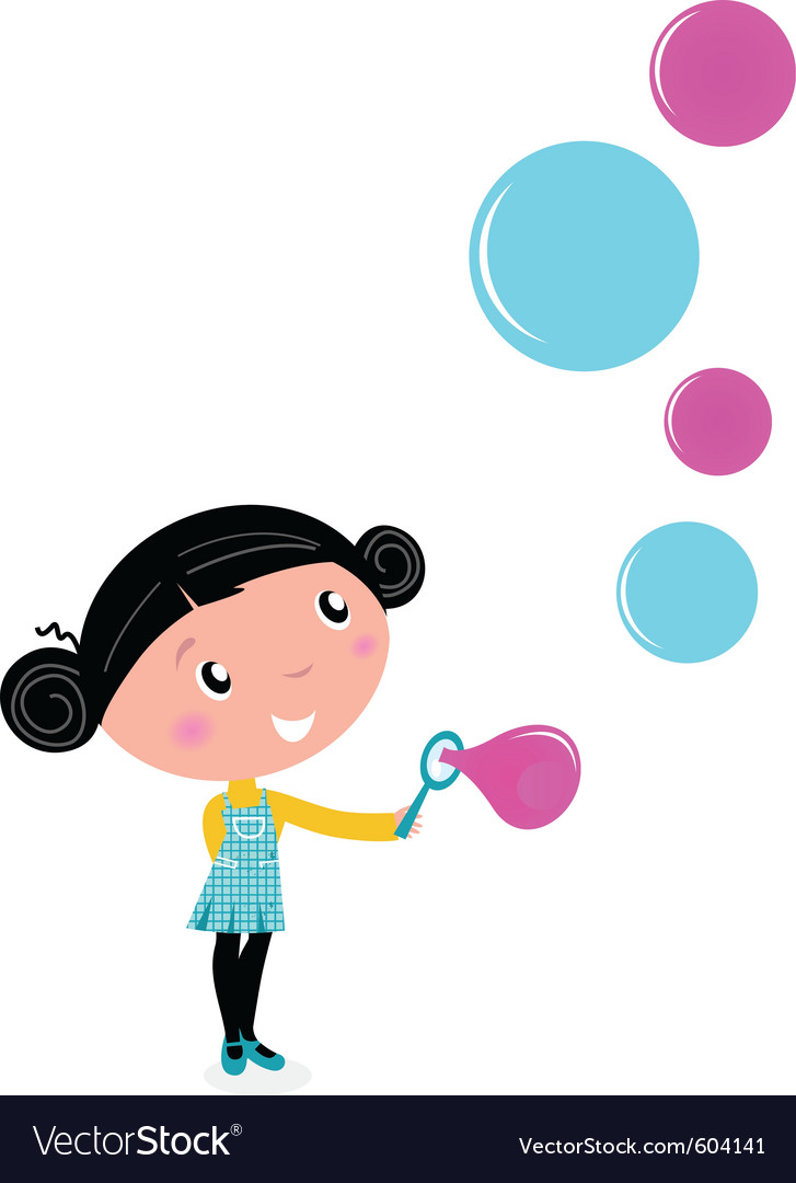Cute little girl blowing soap bubbles vector