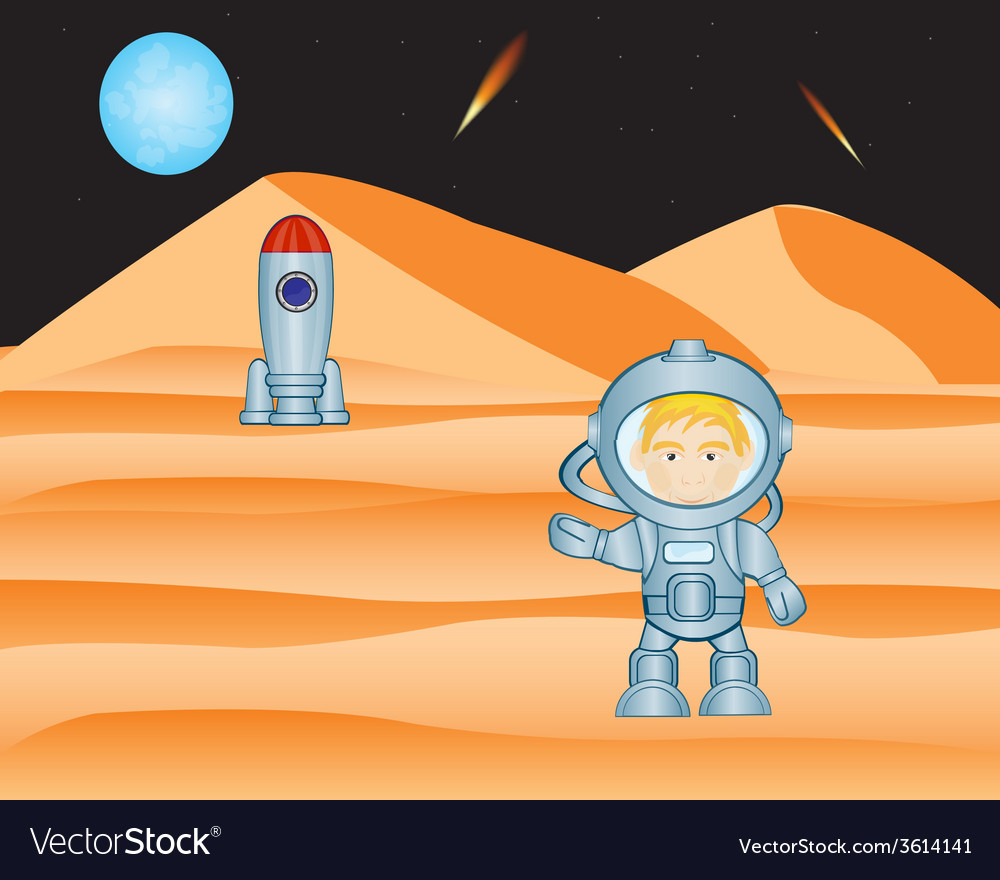 Spaceman on mars vector
