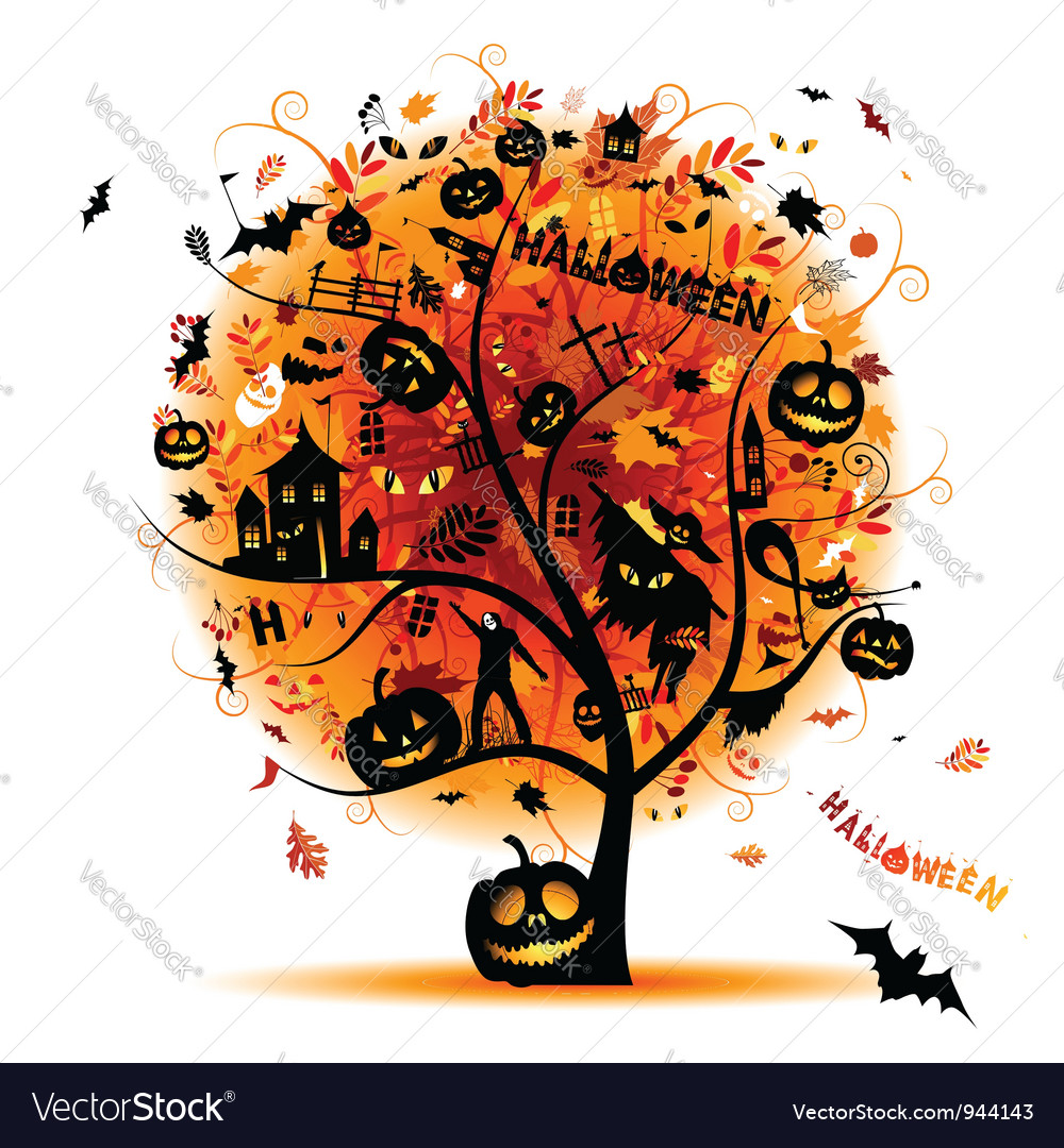 Halloween night party concept tree for your design vector