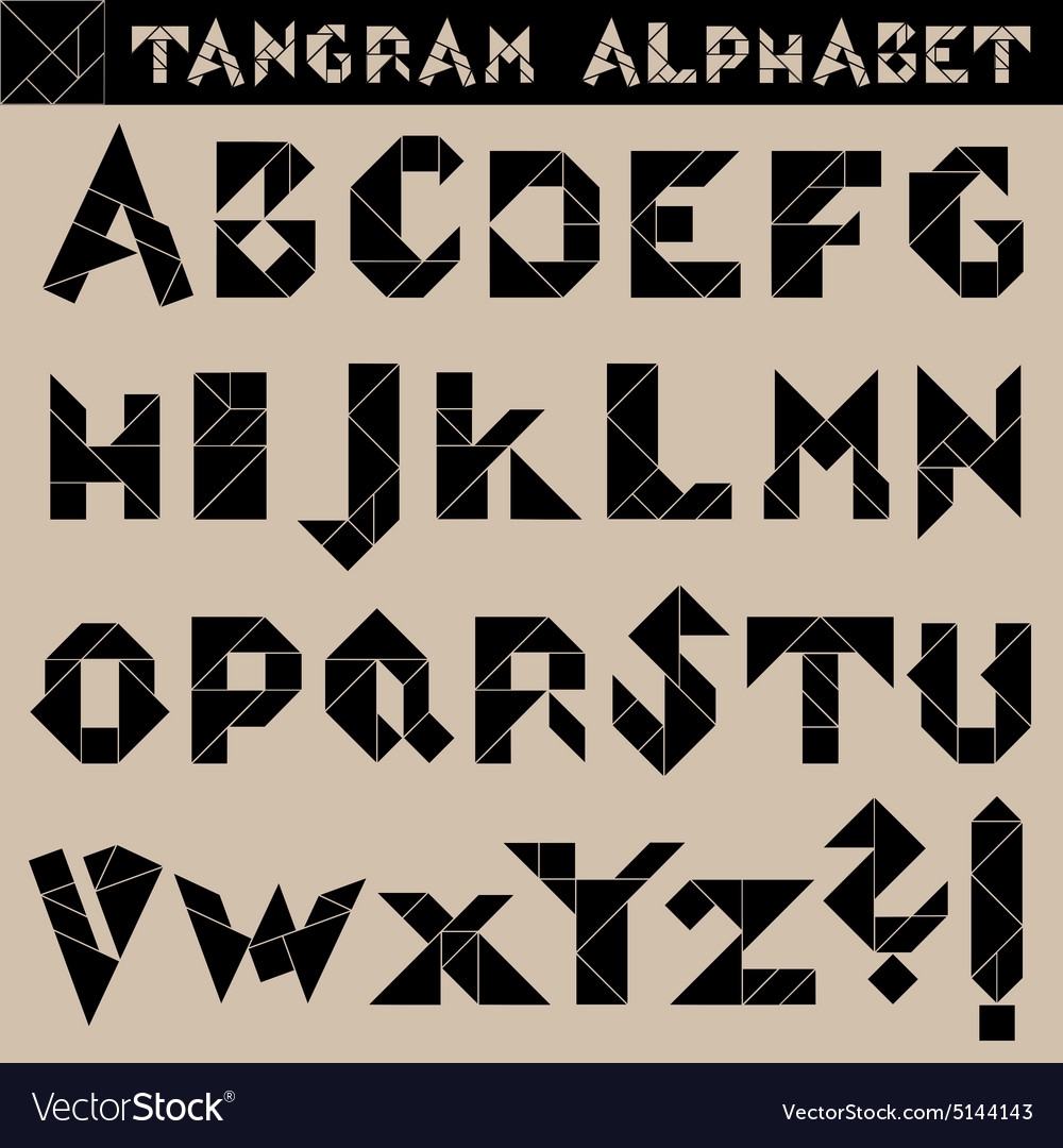 Tangram alphabet black vector