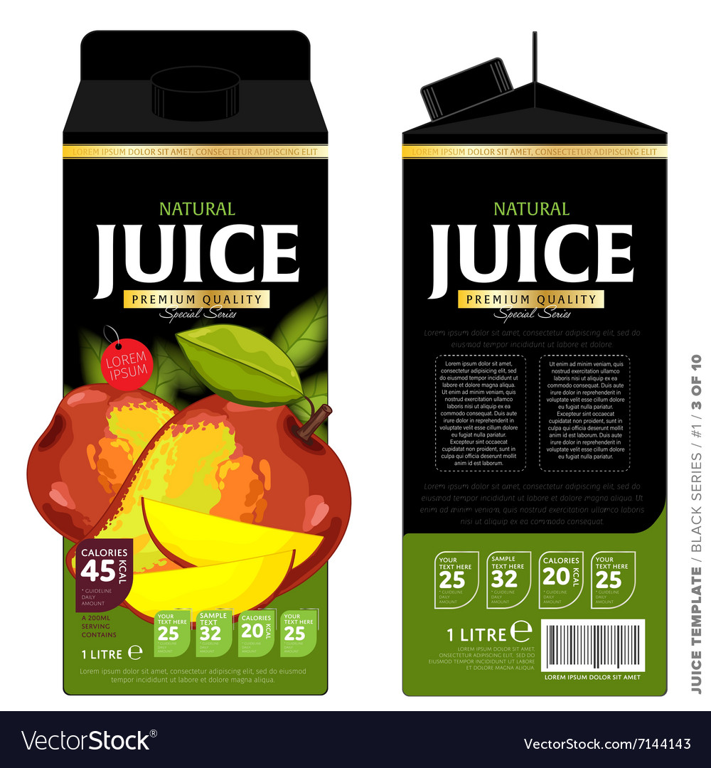 Template packaging design mango juice vector