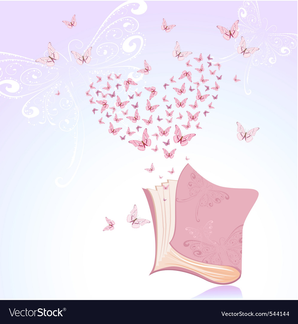 Book with pink butterflies vector