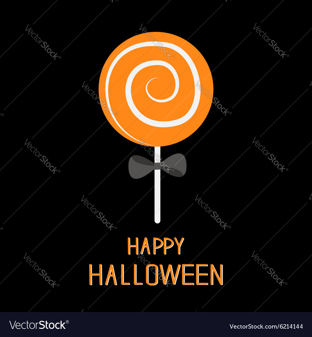 Sweet candy lollipop with spiral black bow happy vector