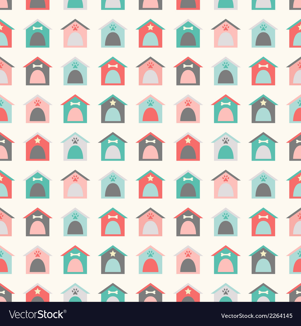 Animal seamless pattern of kennel vector
