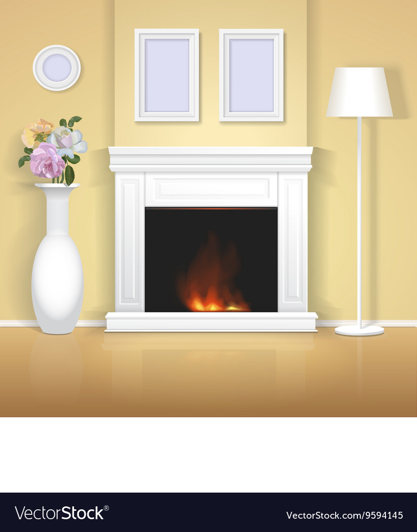 Classic interior with fireplace vector
