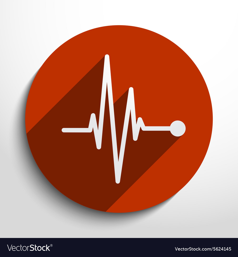Pulse icon heart beat cardiogram vector