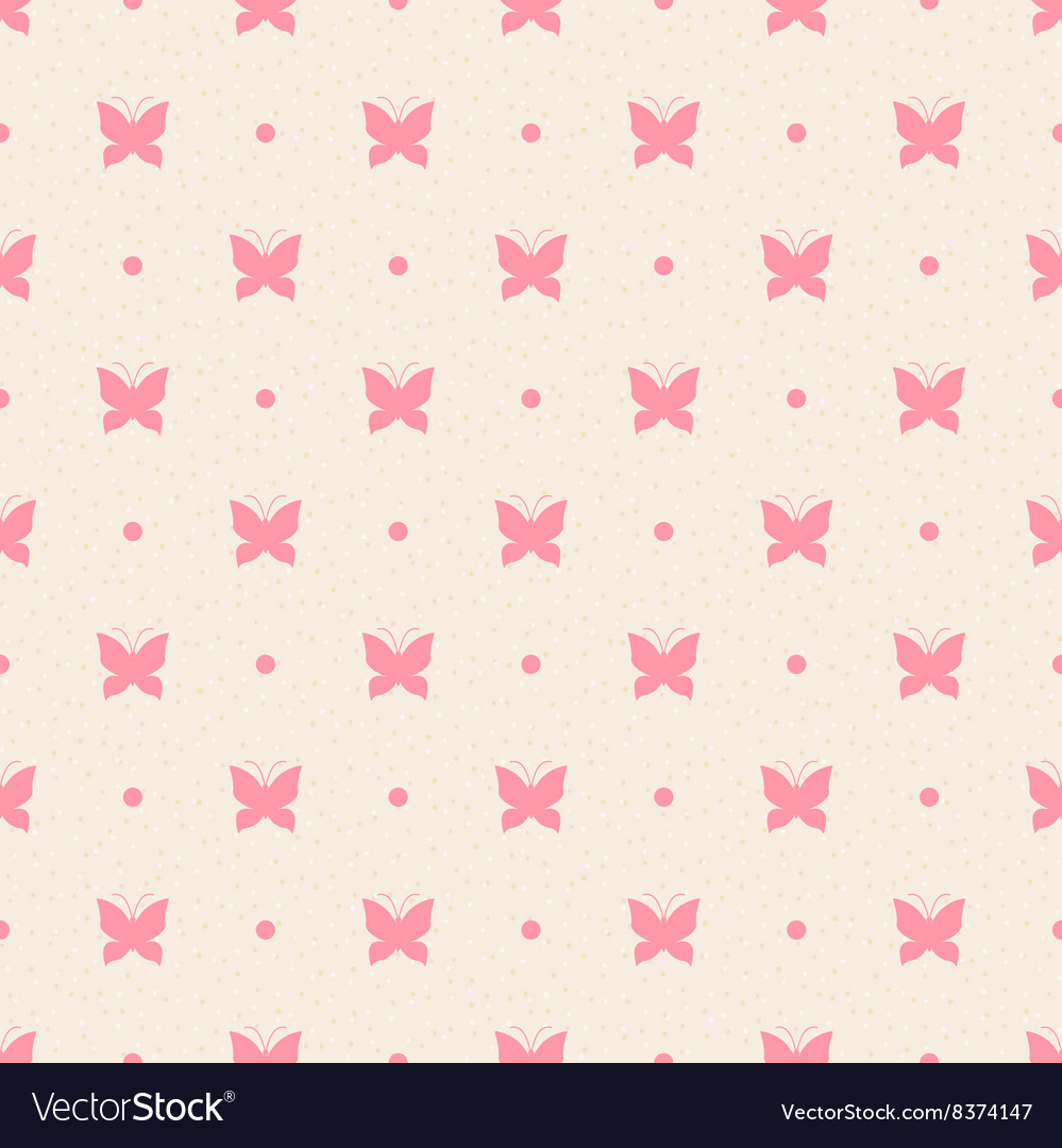 Retro seamless pattern pink butterflies and dots vector