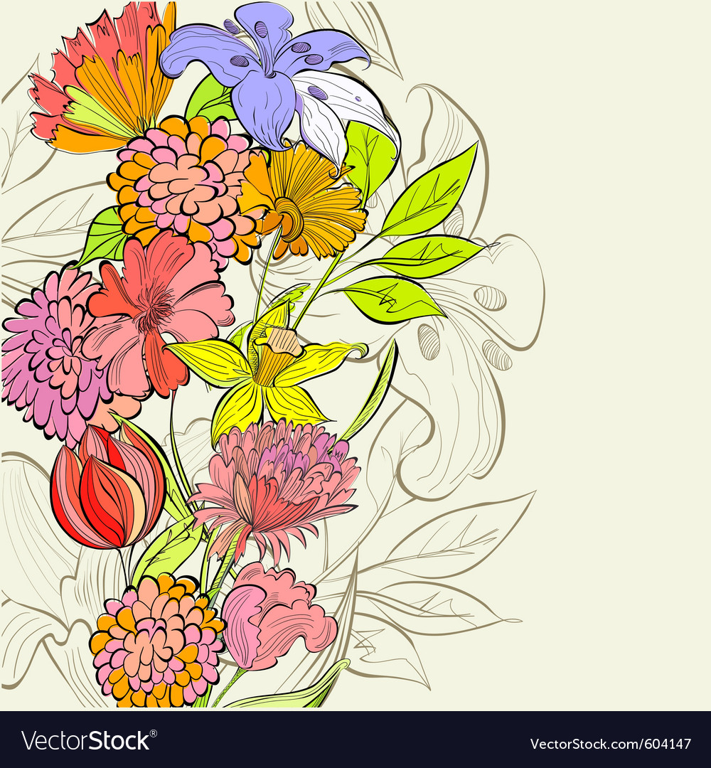 Template for floral card vector