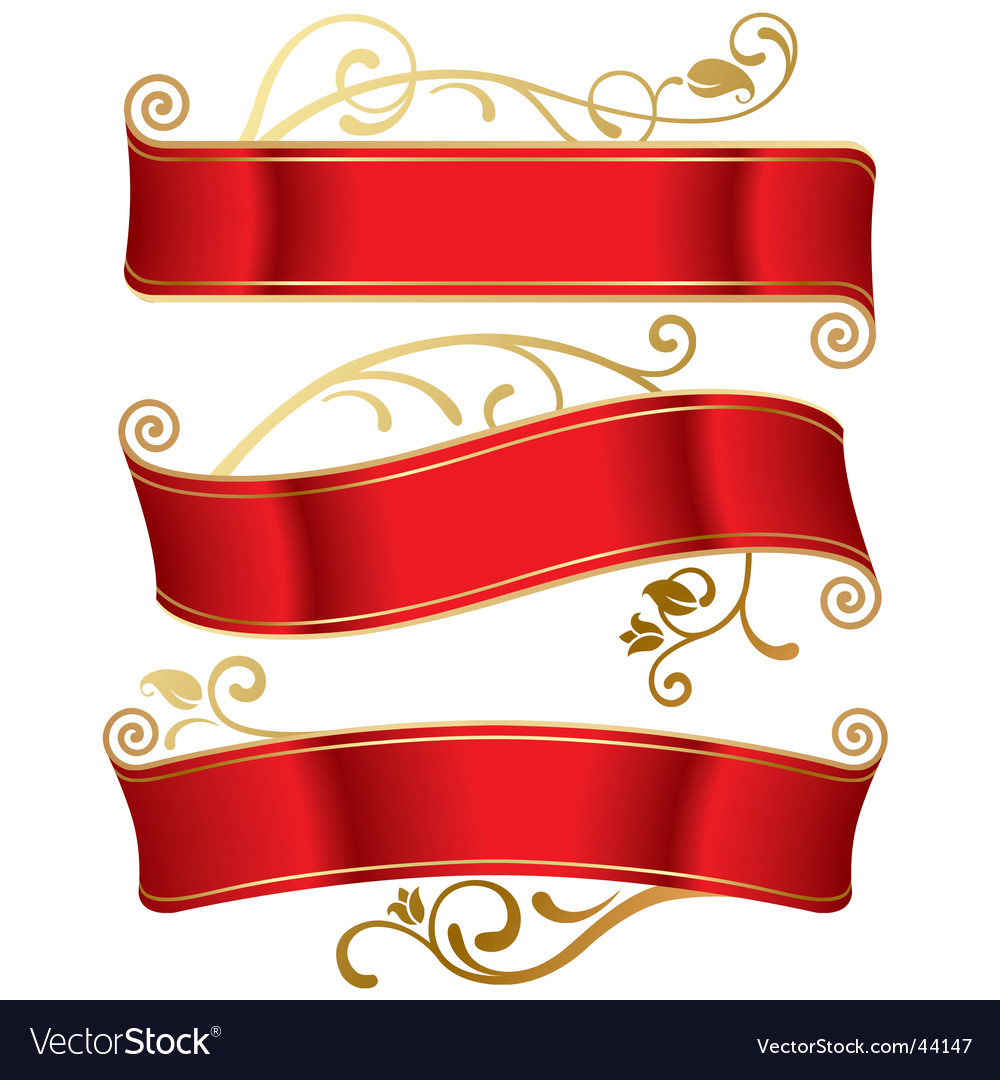 Three red banners vector