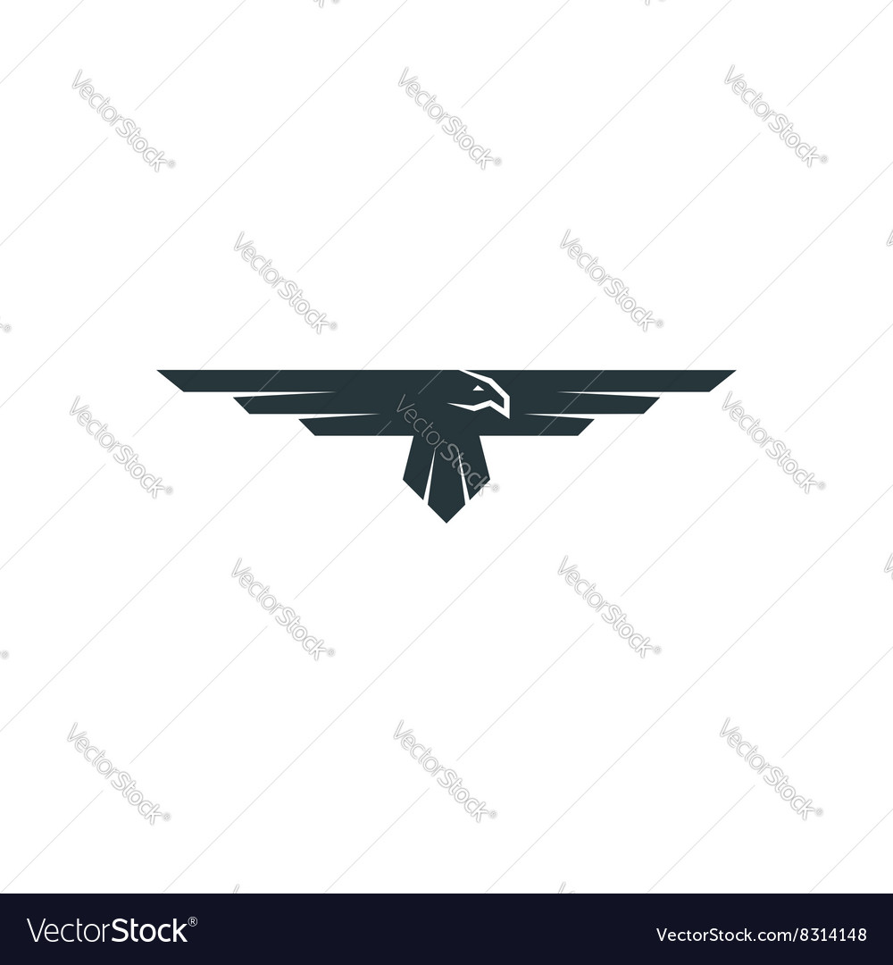 Eagle logo mockup predator bird wings silhouette vector