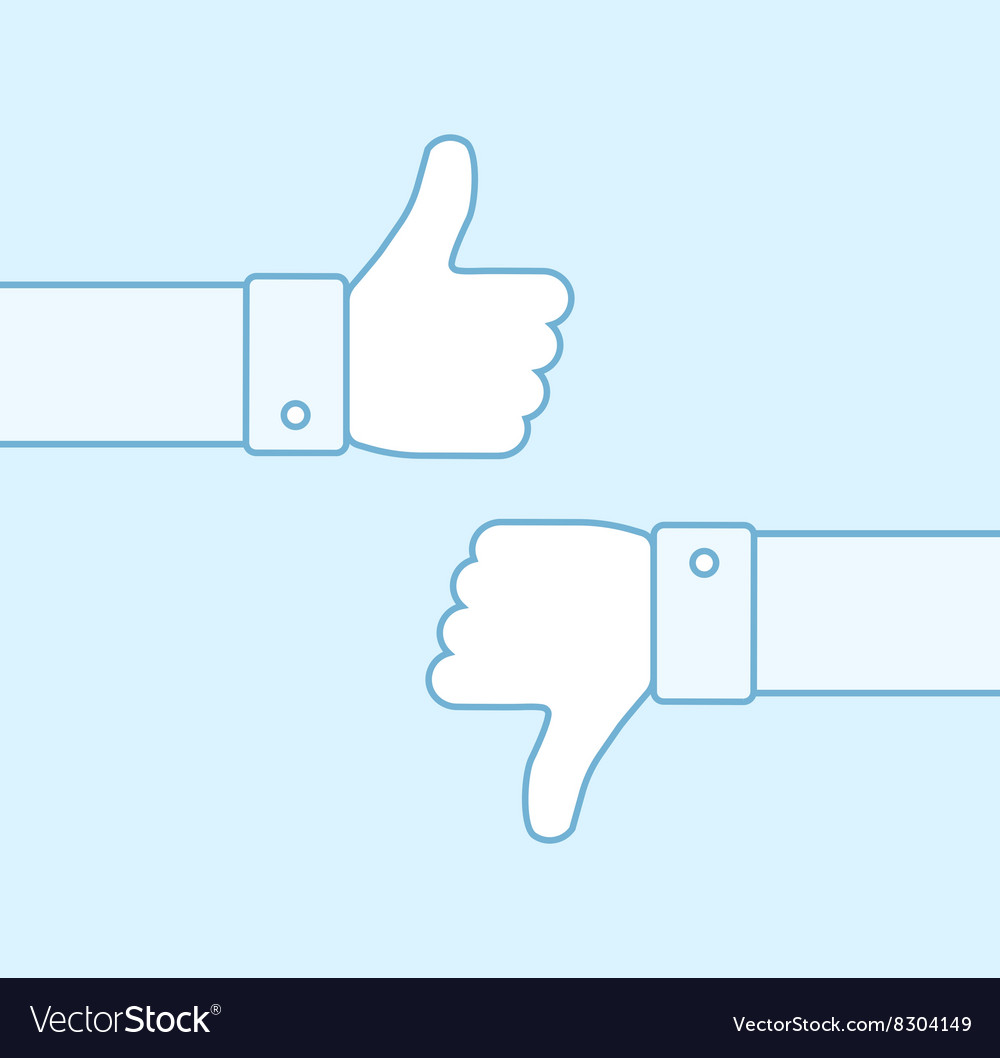 Thumbs up and thumbs down line icons vector