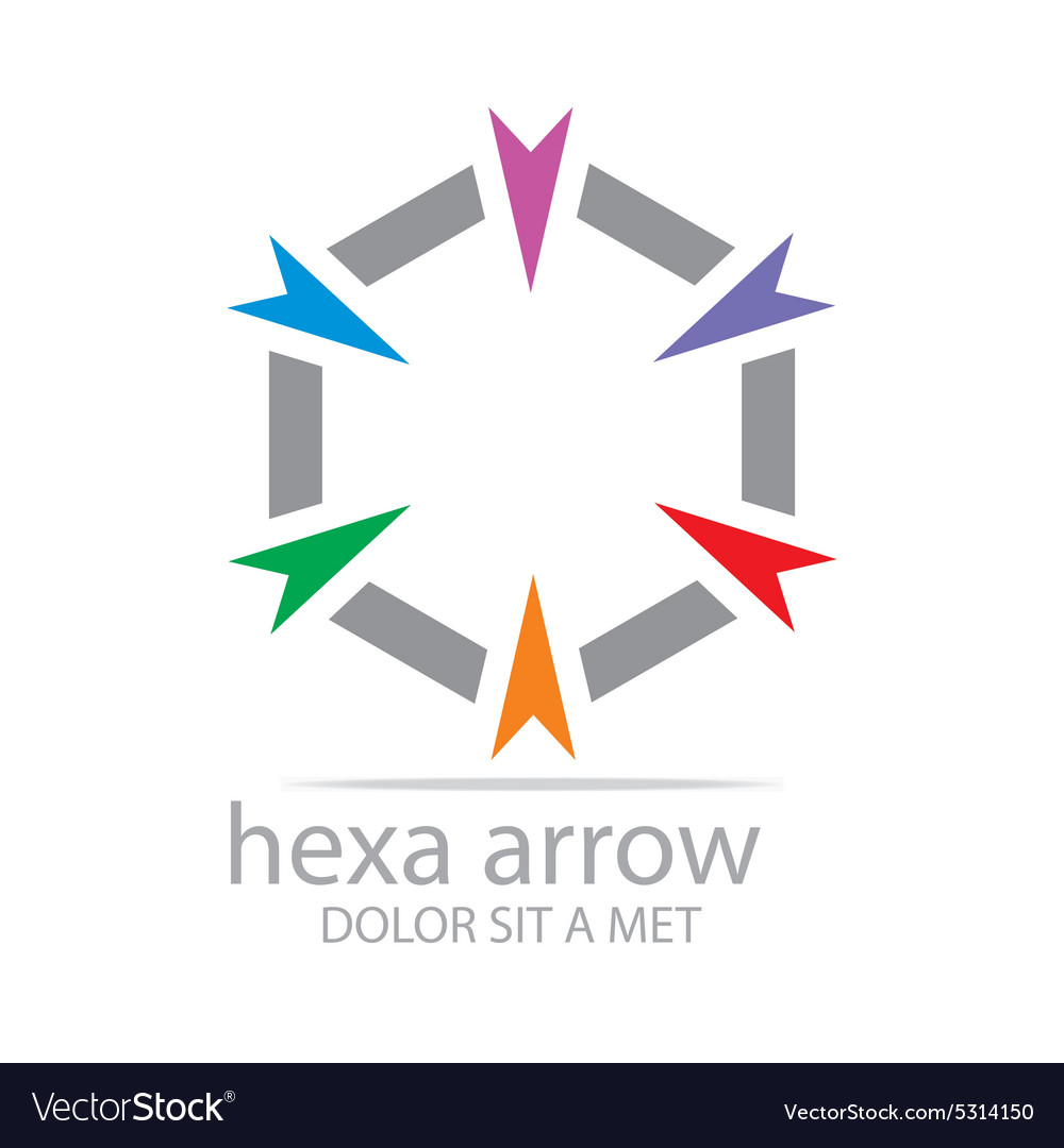 Logo hexa arrow design icon symbol star vector