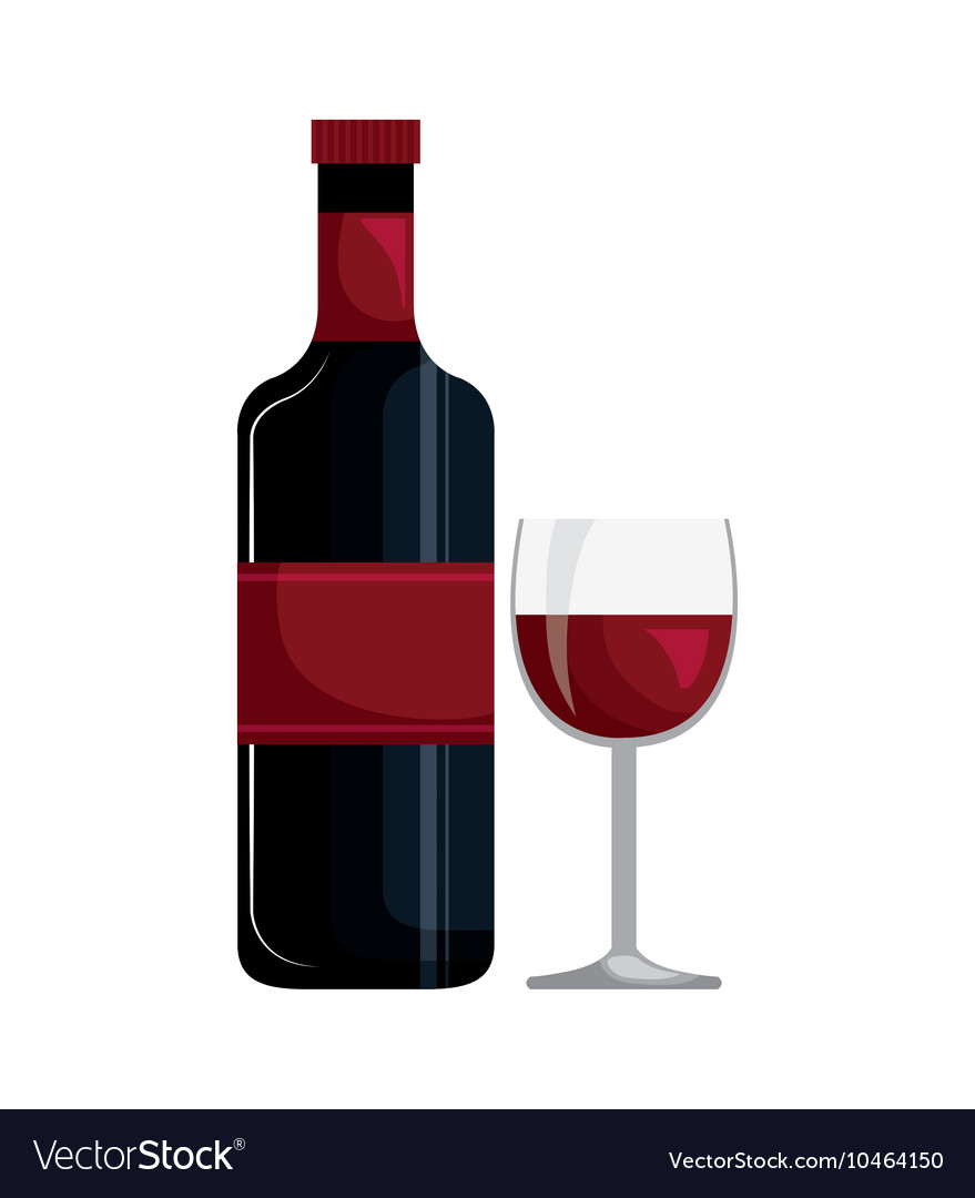 Wine bottle and cup isolated icon design vector