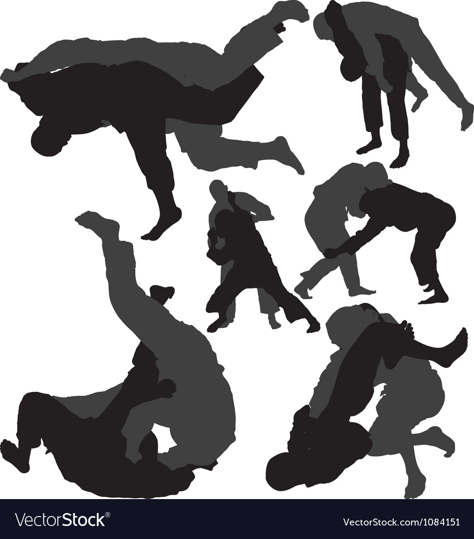 Jiujitsu and judo silhouettes vector
