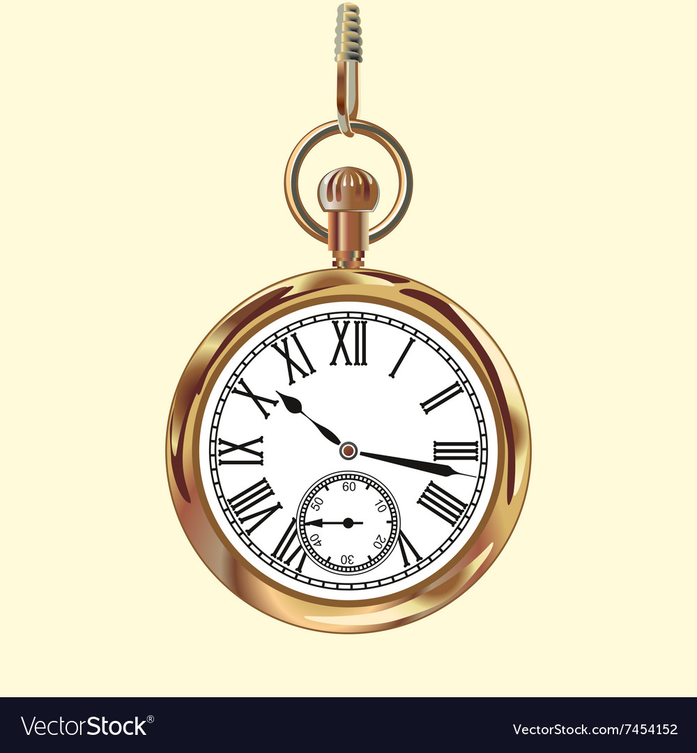 Golden vintage pocket watch vector
