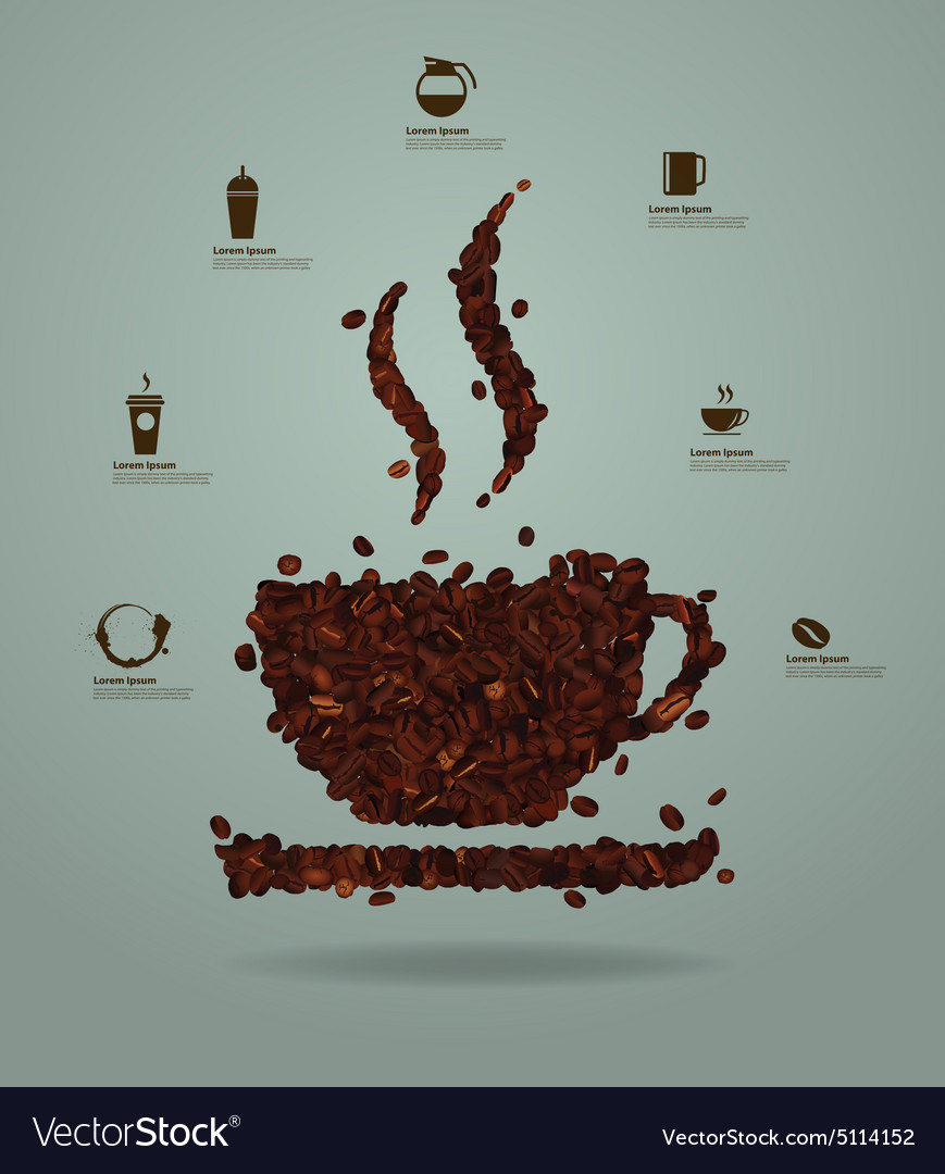 Roasted coffee beans in the shape of a cup vector