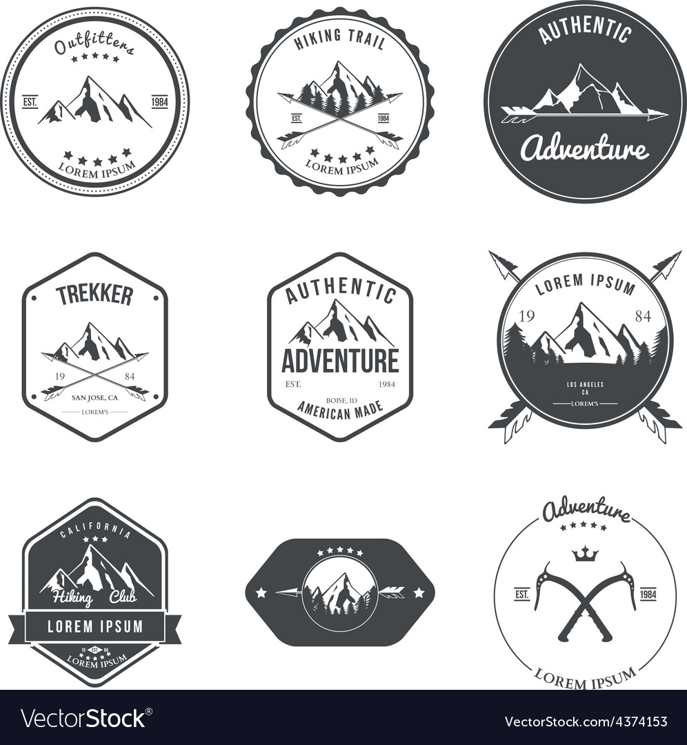 Mountain adventure hiking explorer equipment vector
