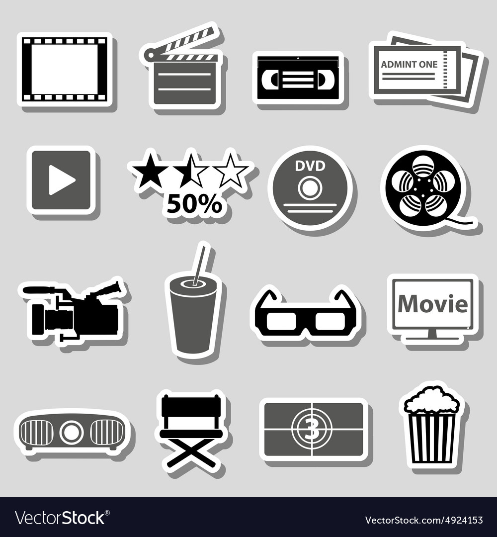 Movie and cinema grayscale stickers set eps10 vector