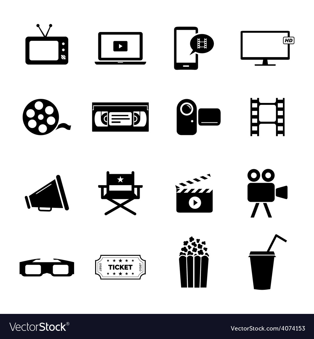 Set of icons  cinema movies and film industry vector