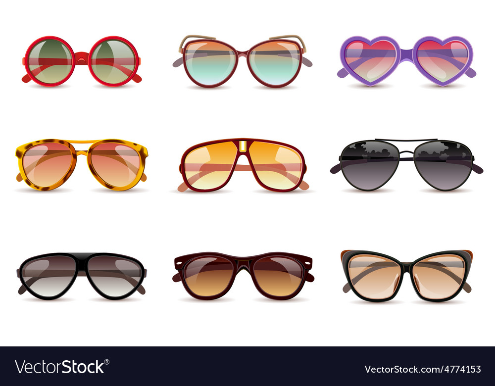 Sunglasses realistic set vector