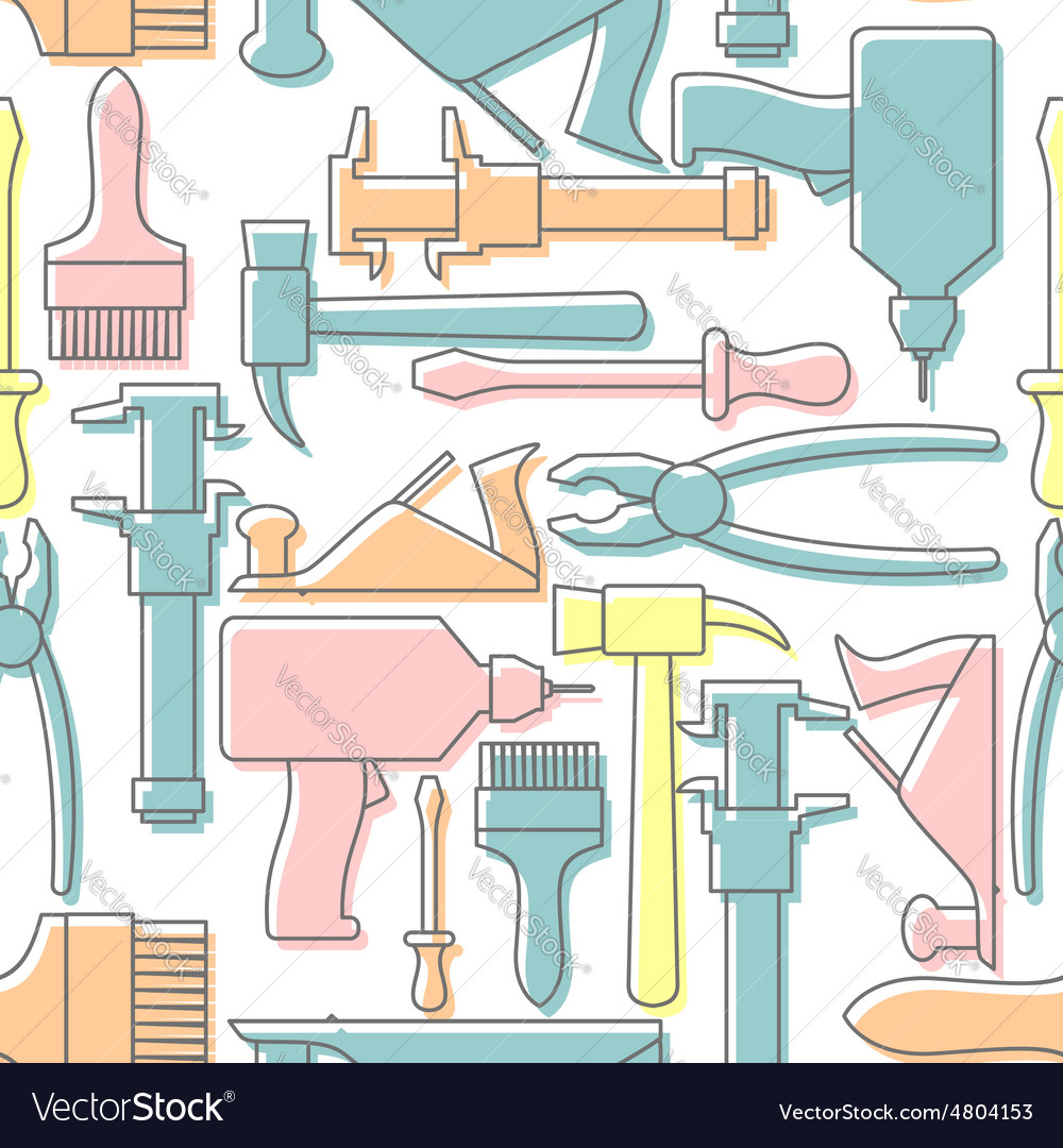 Tools seamless pattern drill and hammer vector