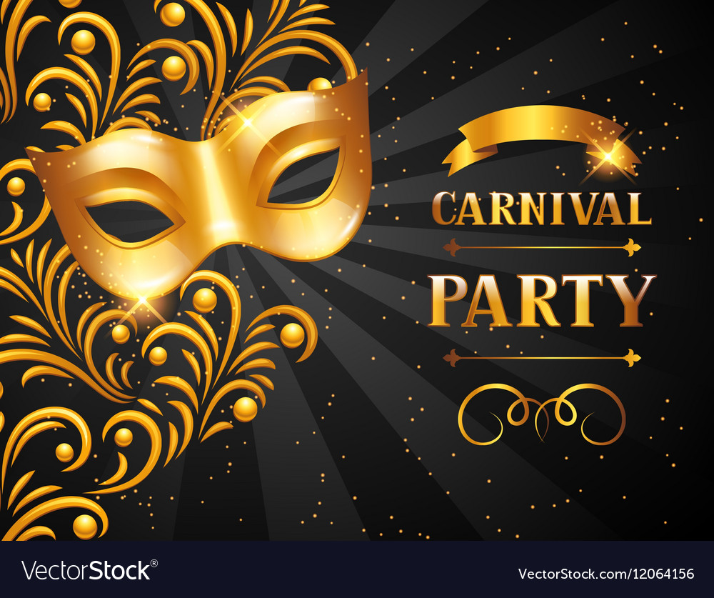 Carnival invitation card with golden mask vector