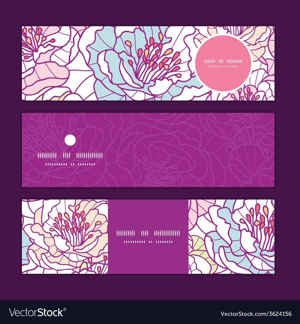 Colorful line art flowers horizontal banners set vector
